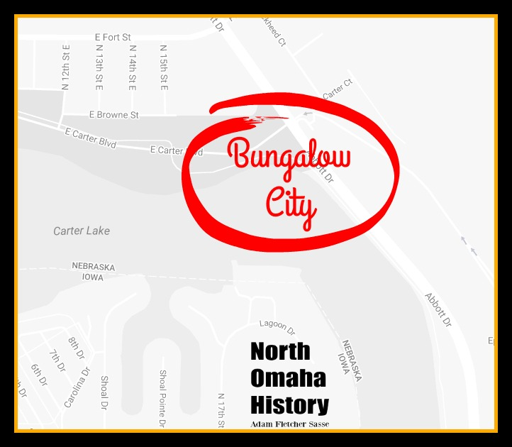 The approximate location of Bungalow City on the northeast shore of Carter Lake in Omaha, Nebraska.