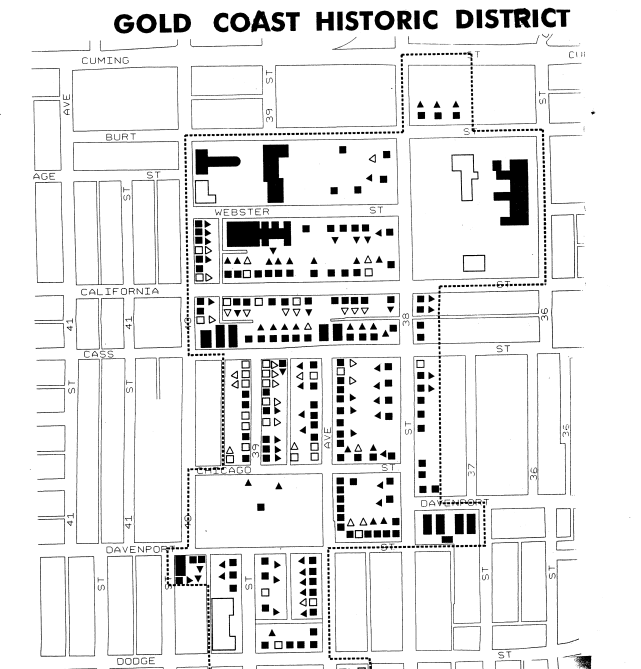 A map of the Gold Coast Historic District north of Dodge from the original proposal for the National Register of Historic Places.