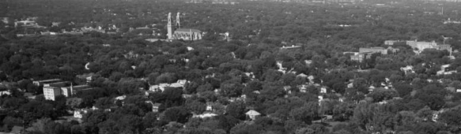 A 1960s birdseye view of the West Central / Cathedral neighborhood. Note the St. Cecilia's Cathedral in the middle.