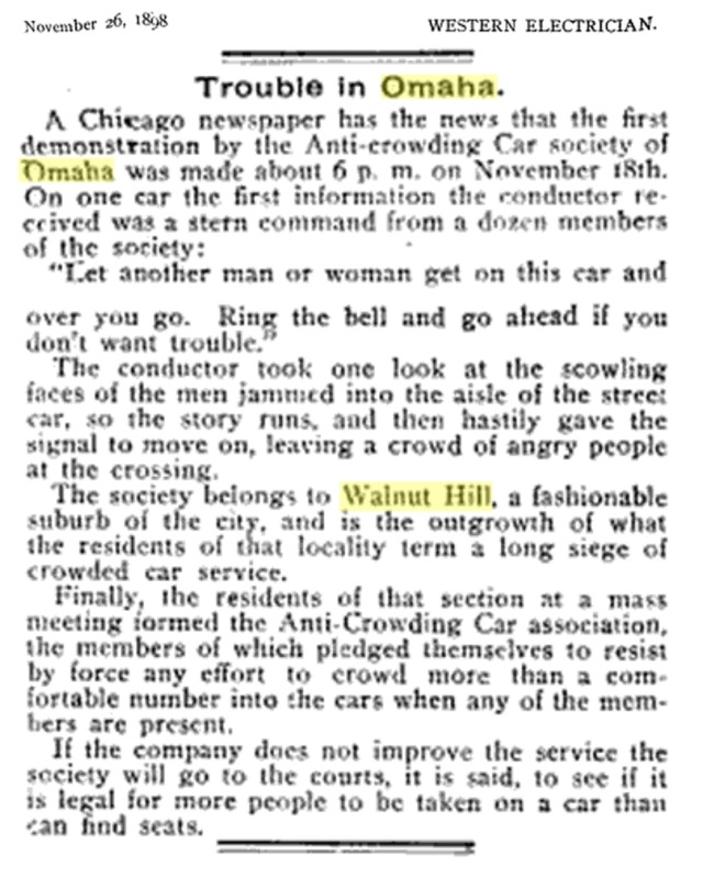 An excerpt from the Western Electrician Journal in 1898 detailing the Anti-Crowding Car Society protests in the Gold Coast neighborhood.