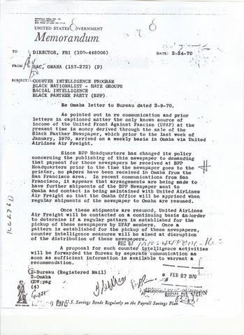 A 1970 letter from J. Edgar Hoover, director of the FBI, to the Omaha FBI headquarters regarding the UFAF.