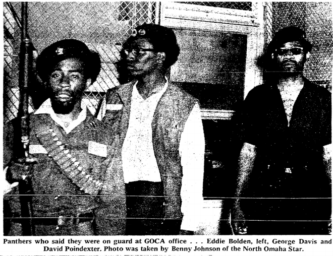 1969 Greater Omaha Community Action Office guarded by Omaha Black Panthers