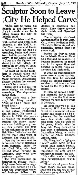 Jacob Maag moves from Omaha, July 16, 1961