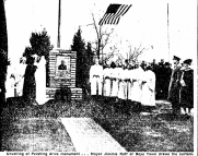 Officials at the dedication of the J. J. Pershing Memorial on November 11, 1940 in North Omaha. Photo from the Omaha World-Herald.