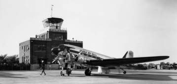 A United Air Lines plane at the American Legion Municipal Airport in October 1941.