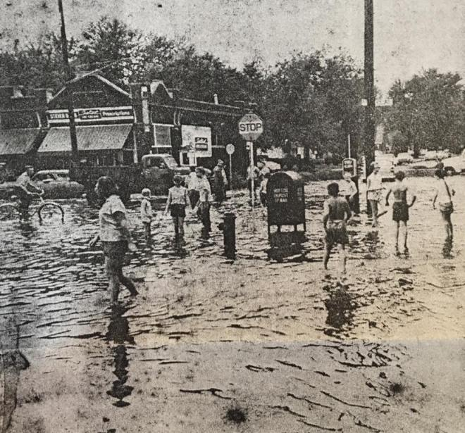 Flooding at N. 24th and Fort Streets in the early 1960s.