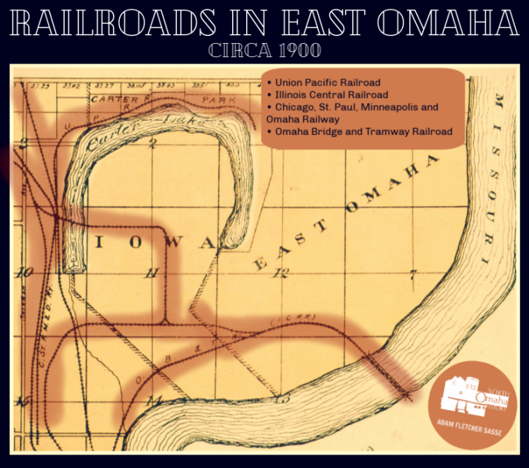 Railroads in East Omaha, Nebraska circa 1900