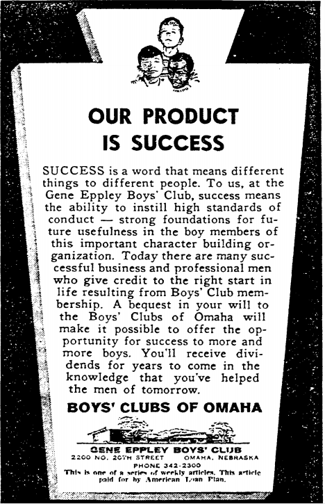 Gene Eppley Boys' Club, 2200 North 20th Street, North Omaha, Nebraska