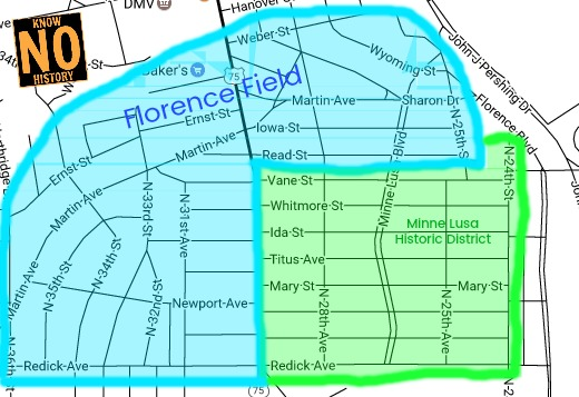 A map showing the Florence Field and Minne Lusa Historic District.