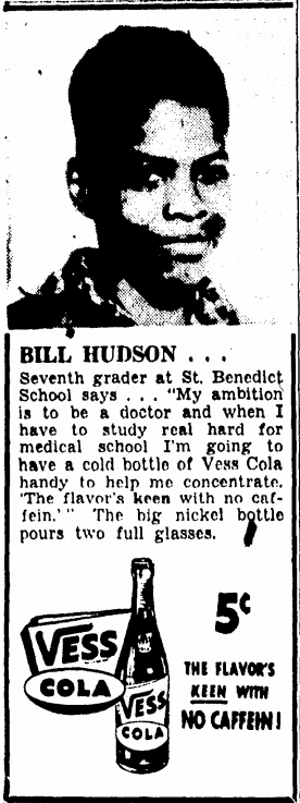 A Vess Cola ad featuring Bill Hudson, a 7th grader at St. Benedict School in 1948.