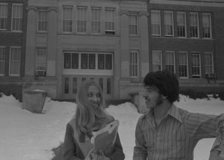 Students stand in the snow outside the main entrance to North in 1971.