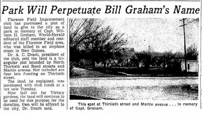 Graham Triangle Park in the Florence Field neighborhood, Martin Avenue and Read Streets, North Omaha, Nebraska