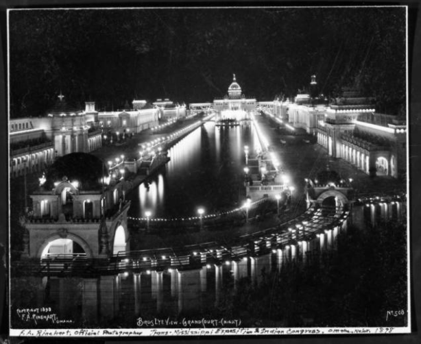 """Birds Eye View - Grand Court at Night"" by F. A. Rinehart in 1898 at the Trans-Mississippi and International Exposition, North Omaha, Nebraska"