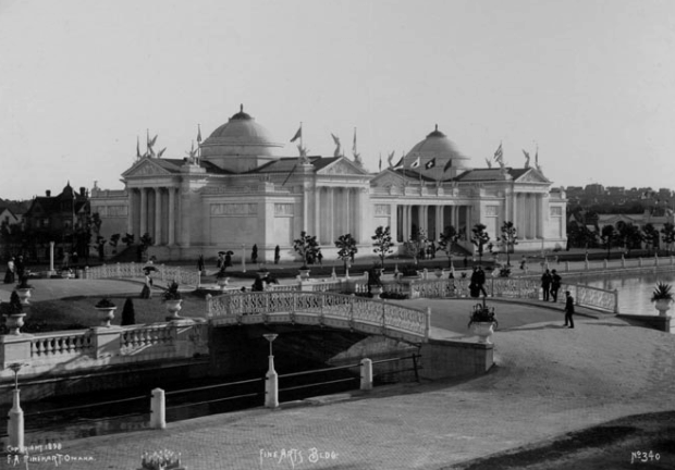 """Bridge over lagoon leading to the Fine Arts Building"" by F.A. Rinehart in 1898 at the Trans-Mississippi and International Exposition in North Omaha, Nebraska"