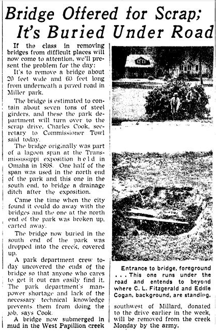 """Bridge Offered for Scrap; It's Buried Under Road."" Omaha World Herald (July 24, 1942)."