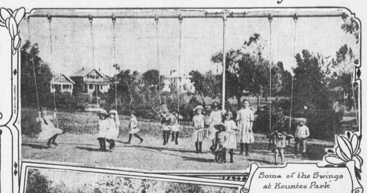 "This is a 1914 pic from the Omaha Bee captioned, ""Some of the swings at Kountze Park."""