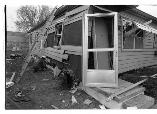 John Duprey's house, 6066 Buckingham Avenue, Omaha, Nebraska, bombed on April 7, 1972.