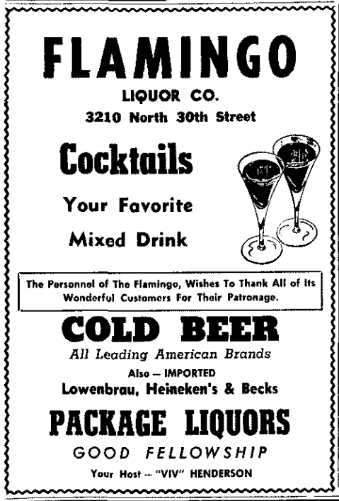 The Flamingo Liquor Company was located at 3210 North 30th Street, North Omaha, Nebraska.