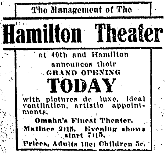 Hamilton Theater, 40th and Hamilton Streets, Omaha, Nebraska