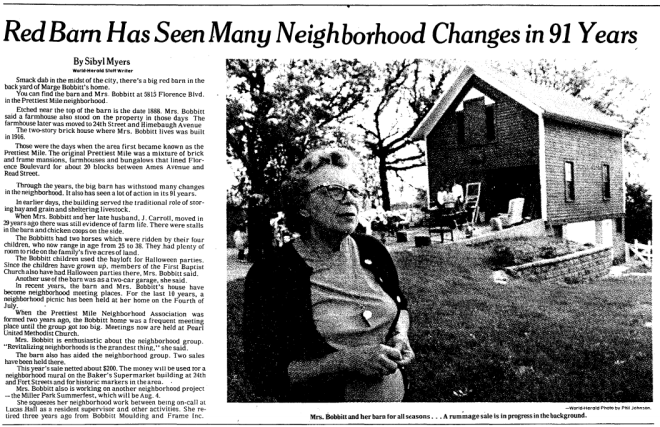 """""""Red barn has seen many neighborhood changes in 91 years,"""" by Sibyl Meyers for the Omaha World Herald on June 17, 1979."""