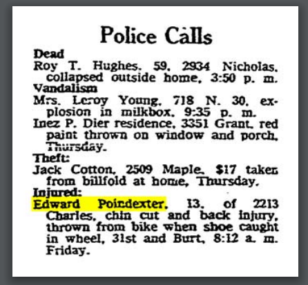 "Omaha World-Herald ""Police Calls,"" April 11, 1958."
