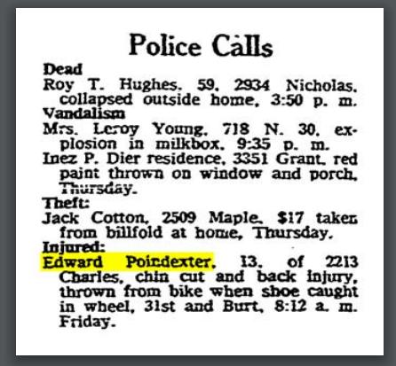 "Omaha World-Herald ""Police Calls,"" April 11, 1958."