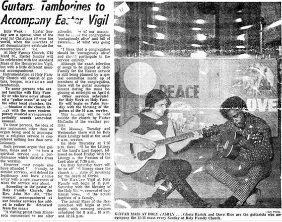 "Omaha Sun, ""Guitars Tamborines to Accompany Easter Vigil"""