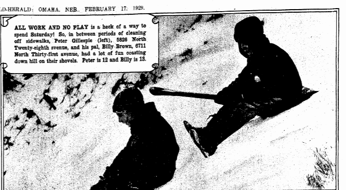 Billy Brown sledding in North Omaha in 1929