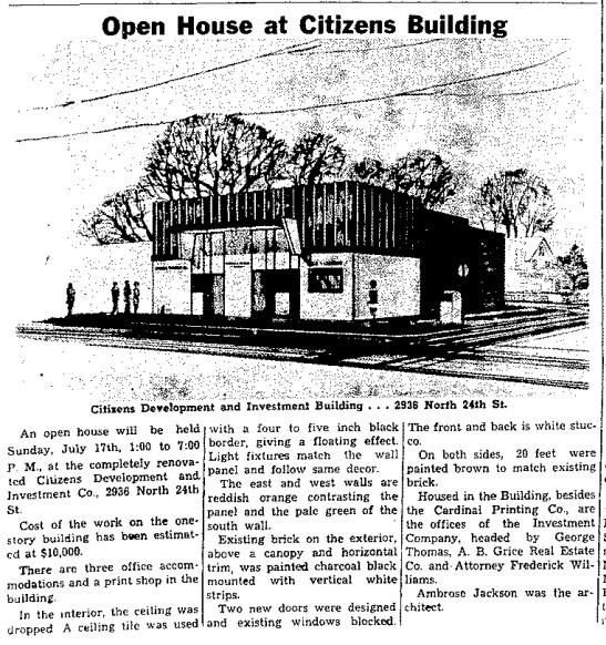 The Citizens Development and Investment Building was at 2936 N 24th Street in North Omaha, Nebraska