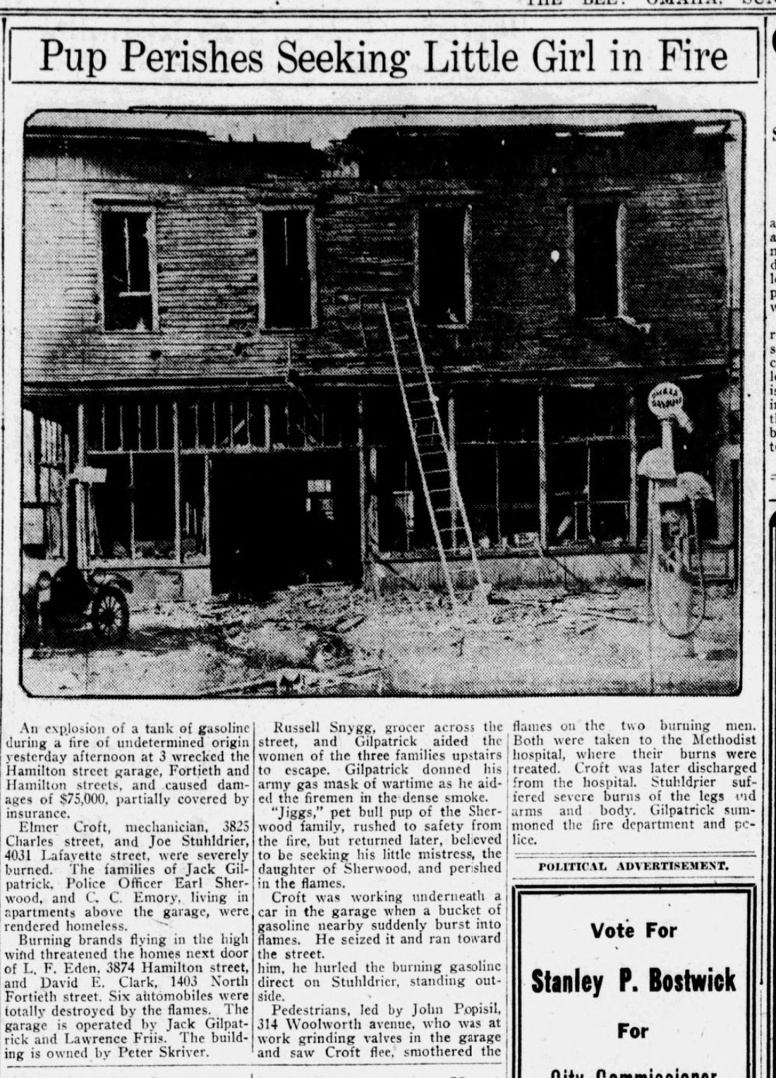 April 3, 1921 Omaha Bee story of a fire at N. 40th and Hamilton Streets in Omaha, Nebraska