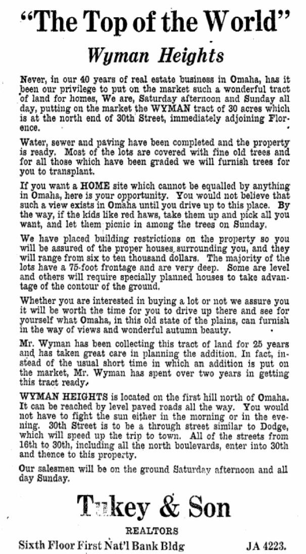 1926 Wyman Heights ad
