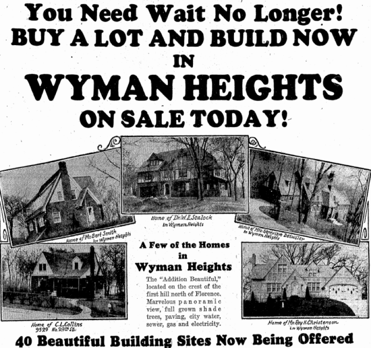 1932 Wyman Heights ad
