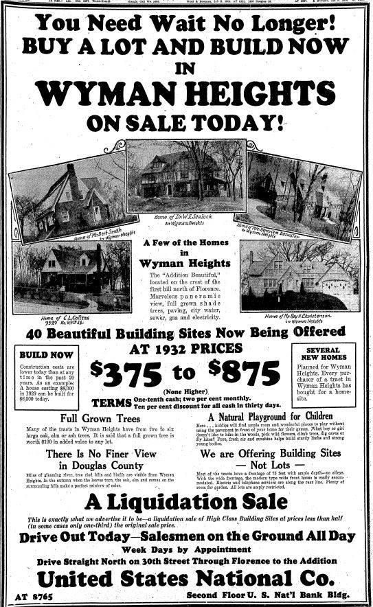 1932 Wyman Heights liquidation ad