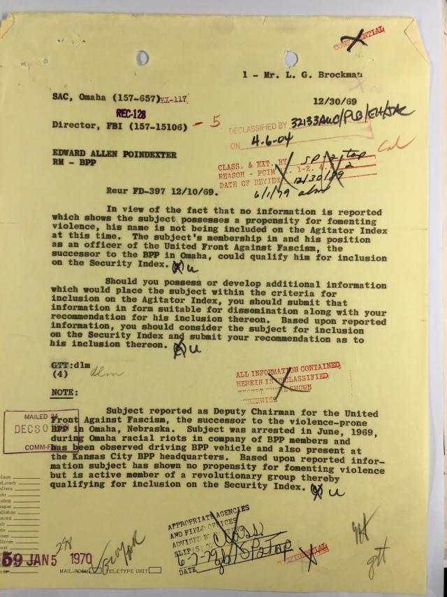December 10 1969 FBI Letter regarding the United Front Against Fascism in North Omaha Nebraska