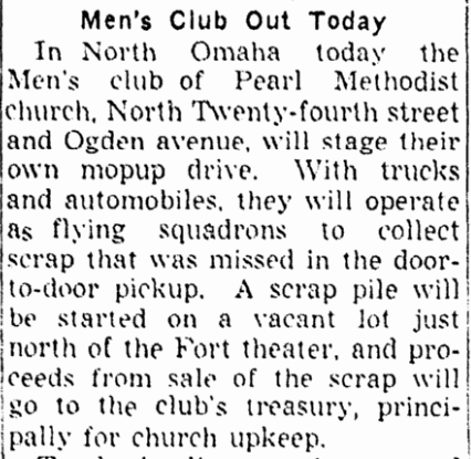 Pearl Methodist Church Men's Club WWII Scrap Metal Drive July 25, 1942