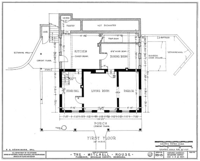 Architectural drawing of The Mitchell House Florence Nebraska by FA Henninger