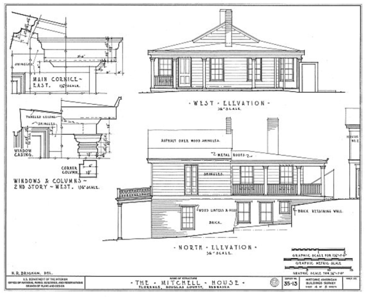 Architectural drawings of the Mitchell House in Florence Nebraska in 1934