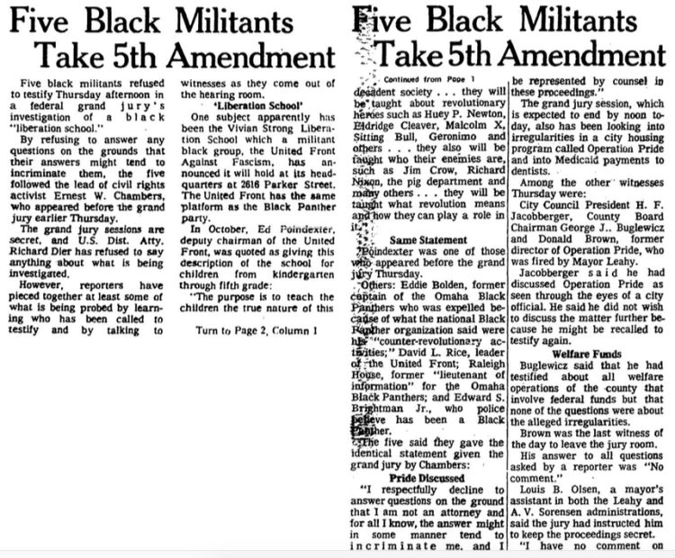 Five Black Militants take 5th Amendment Dec 12 1969
