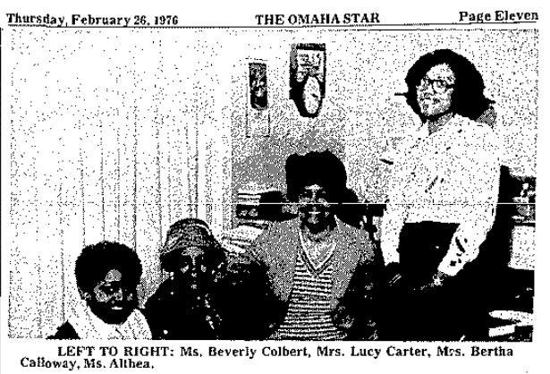Beverly Colbert Lucy Carter Bertha Caolloway Althea 1976