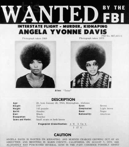 FBI Poster of Communist Activist Angela Davis from 1970