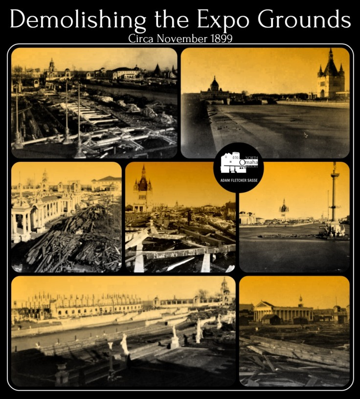 Shown here are several images from the demolition of the grounds for the Trans-Mississippi Exposition (1898) and the Greater American Exposition (1899) in North Omaha, Nebraska.