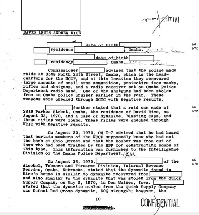 This image shows a letter with several redactions. It is a statement regarding Mondo we Langa, originally named David Rice. It is a summary of a testimony which includes the existence of OM T-7, an FBI agent who informed to the Omaha Police Department on behalf of the FBI.