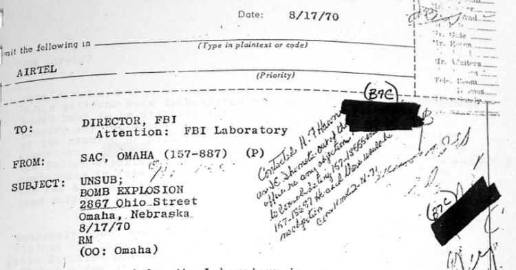 FBI letter regarding North Omaha bombing 8-17-70