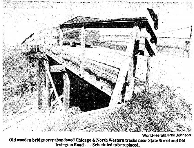 1980 pic of Old Irvington Road bridge North Omaha Nebraska