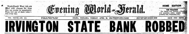 Irvington State Bank Robbed April 29 1924