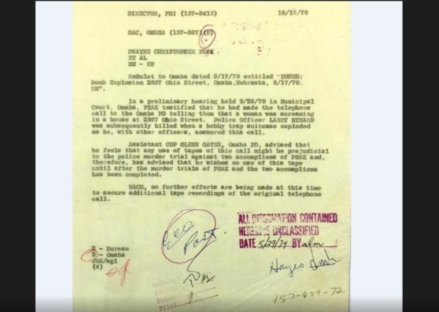 FBI Memo from 10/13/1970 regarding trial of Dwayne Peak and the explosion at 2867 Ohio Street in North Omaha