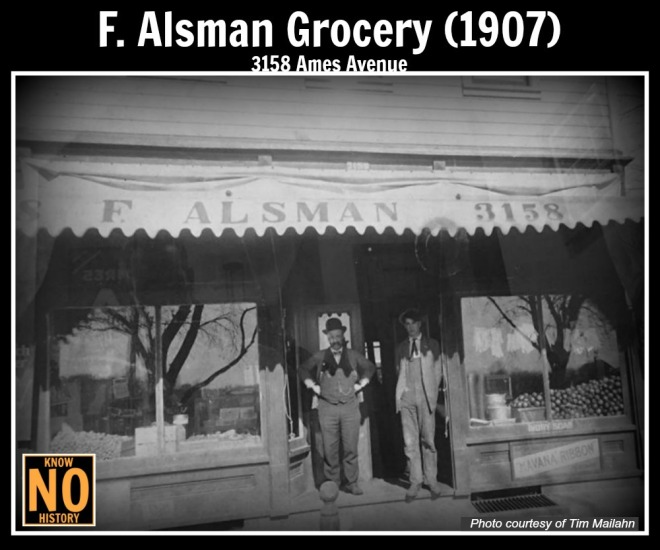 This is a 1907 picture of the Alsman Grocery at 3185 Ames Avenue.