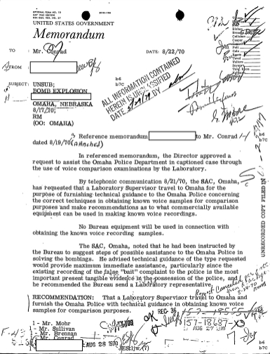 A US government memo from August 8, 1970, instructing the FBI Laboratory to withhold a report on the 911 caller's identity and instead send a laboratory technician to Omaha contained the initials of top FBI administrators including J. Edgar Hoover. (credit: Federal Bureau of Investigation)