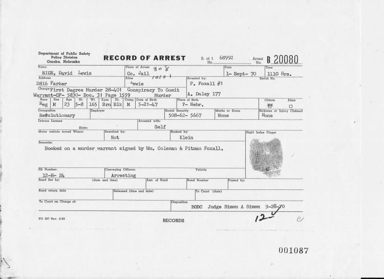David Rice Omaha Police Department Arrest Record 9/1/1970