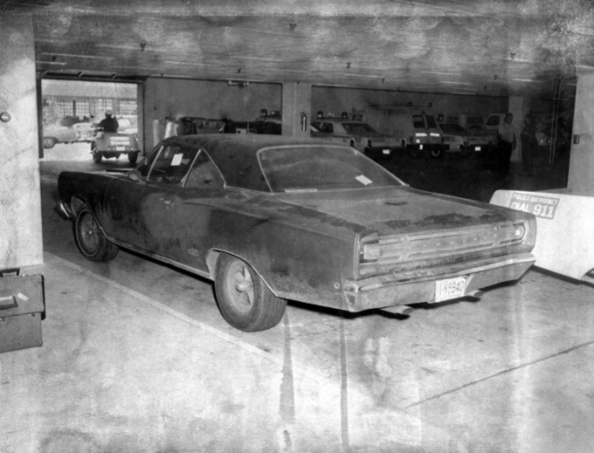 Delia Peak's car transported the suitcase bomb to the vacant house. ATF Agent Thomas Sledge was given vacuumed debris from the trunk which later tested positive for dynamite particles, unlikely from a closed suitcase. Sledge had opportunity to salt the trunk debris as he also transported several vials of dynamite powder for testing. (credit: Omaha Police Department)